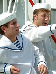 Two horny sailor suck each other